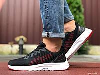 Чоловічі спортивні кросівки в стилі Asics, чорно білі \ червоні, фото 1