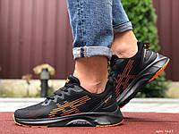 Мужские спортивные кроссовки в стиле Asics, черные с оранжевым, фото 1