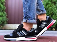 Кросівки чоловічі демісезонні в стилі Adidas Zx 500 Rm, чорні з білим \ червоним, фото 1