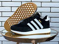 Кросівки зимові чоловічі на хутрі в стилі Adidas Iniki, чорно білі, фото 1