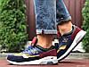 Кросівки чоловічі демісезонні в стилі New Balance 1500, темно сині з жовтим \ бордовим