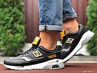 Кроссовки демисезонные мужские в стиле New Balance 1500, черные с желтым, фото 1