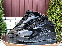 Кросівки зимові чоловічі на хутрі в стилі Adidas Streetball, чорні, фото 1
