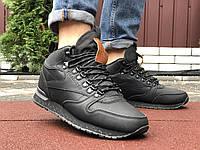 Чоловічі зимові кросівки високі на хутрі в стилі Reebok Classic, чорні, фото 1