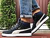 Чоловічі зимові кросівки високі на хутрі в стилі Puma Suede, темно сині
