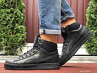 Мужские зимние кроссовки высокие на меху в стиле Puma Suede, черные, фото 1