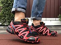 Кросівки чоловічі демісезонні в стилі Salomon Speedcross 3, темно сині з блакитним, фото 1