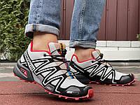 Кроссовки мужские демисезонные в стиле Salomon Speedcross 3, светло серые с красным, фото 1