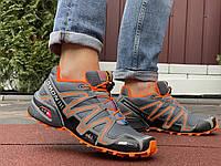 Кроссовки мужские демисезонные в стиле Salomon Speedcross 3, серые с оранжевым, фото 1