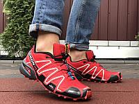Кроссовки мужские демисезонные в стиле Salomon Speedcross 3, красные, фото 1