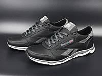 Мужские демисезонные кожаные кроссовки в стиле Reebok, черные с серым, фото 1