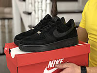 Мужские демисезонные кроссовки в стиле Nike Air Force Af 1, черные Найк Аир Форс, фото 1