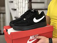 Мужские демисезонные кроссовки в стиле Nike Air Force Af 1, черные с белым Найк Аир Форс, фото 1