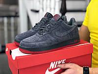 Чоловічі демісезонні кросівки в стилі Nike Air Force Af 1, сірі з червоним Найк Аір Форс, фото 1