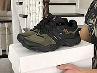 Кросівки чоловічі демісезонні без бренду в стилі Adidas Terrex Swift r2 GTX, чорні з зеленим, gore-tex, фото 1