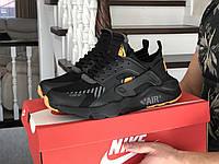 Кроссовки демисезонные мужские в стиле Nike Air Huarache, черные с оранжевым, фото 1