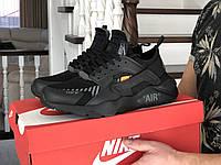 Кросівки чоловічі демісезонні в стилі Nike Air Huarache, чорні, фото 1