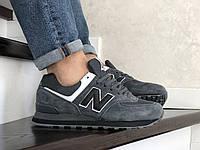 Кроссовки демисезонные мужские в стиле New Balance 574, серые с черным, фото 1