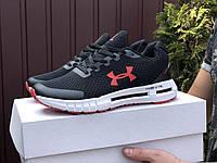 Кросівки чоловічі демісезонні в стилі Under Armour HOVR, чорні з білим \ червоним, фото 1