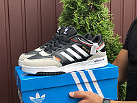 Кросівки чоловічі демісезонні в стилі Adidas Drop Step, чорні з білим \ бежевим, фото 1
