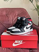 Жіночі демісезонні високі кросівки в стилі Nike Air Jordan, чорні з білим \ червоним Найк Аїр Джордан, фото 1
