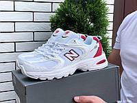 Кросівки чоловічі демісезонні в стилі New Balance Abzorb 530, сітка, білі з червоним, фото 1