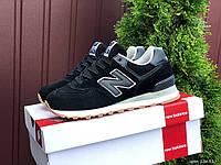 Жіночі демісезонні кросівки в стилі New Balance 574, чорні з білим, фото 1