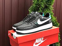 Жіночі демісезонні кросівки в стилі Nike Air Force, чорні з білим \ м'ятним Найк Аір Форс, фото 1