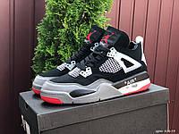Чоловічі демісезонні високі кросівки в стилі Nike Air Jordan 4 Retro, чорні з сірим Найк Аїр Джордан, фото 1