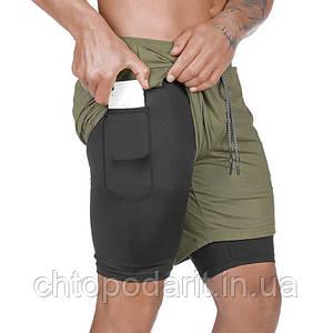 Спортивные шорты с карманом для телефона, мужские шорты-тайтсы олива с черными тайтсами размер 3XL Код 35-0079