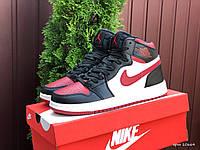 Мужские демисезонные высокие кроссовки в стиле Nike Air Jordan, черные с белым \ красным Найк Аир Джордан, фото 1