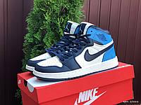 Чоловічі демісезонні високі кросівки в стилі Nike Air Jordan, сині з білим Найк Аїр Джордан, фото 1