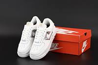 """Кроссовки женские кожаные Nike Air Force """"Белые с серебром"""" р. 36-40, фото 1"""