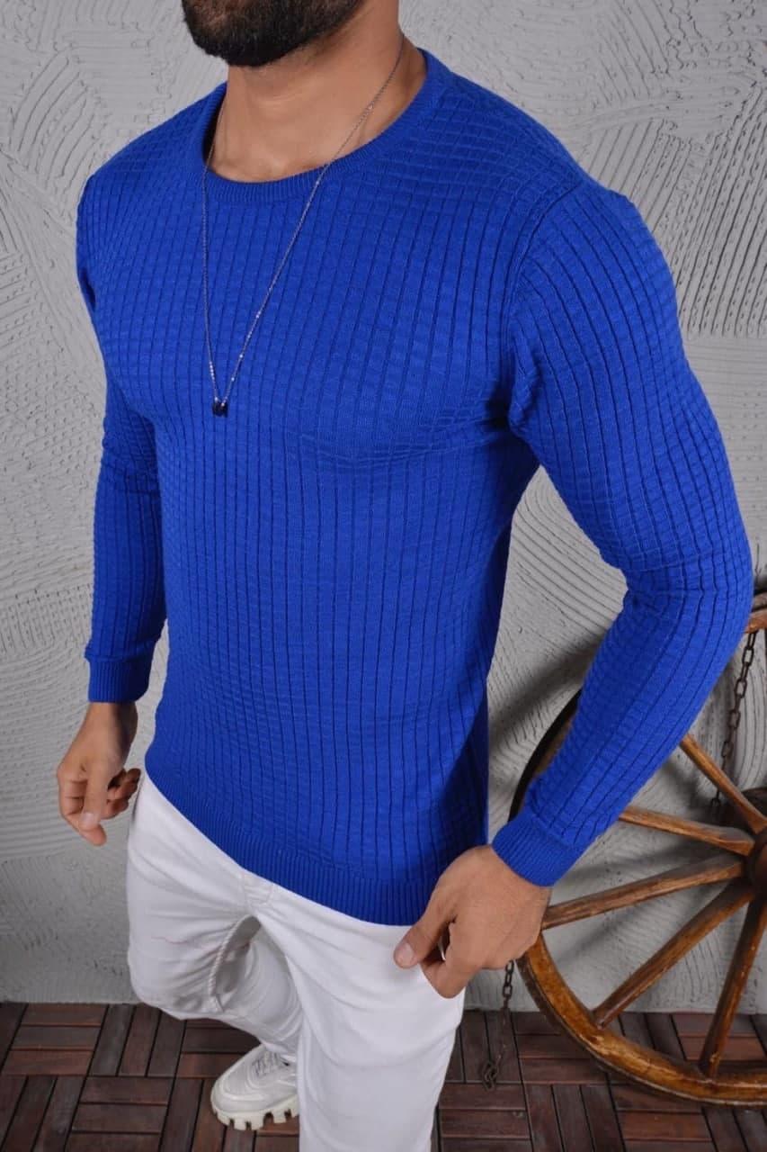 😜 Светр Чоловічий Легкий однотонний светр / чоловічий легкий однотонний світер синій
