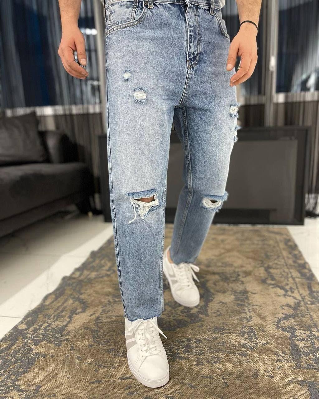 Джинси - Чоловічі трендові джинси МОМ / чоловічі трендові джинси рвані МОМ