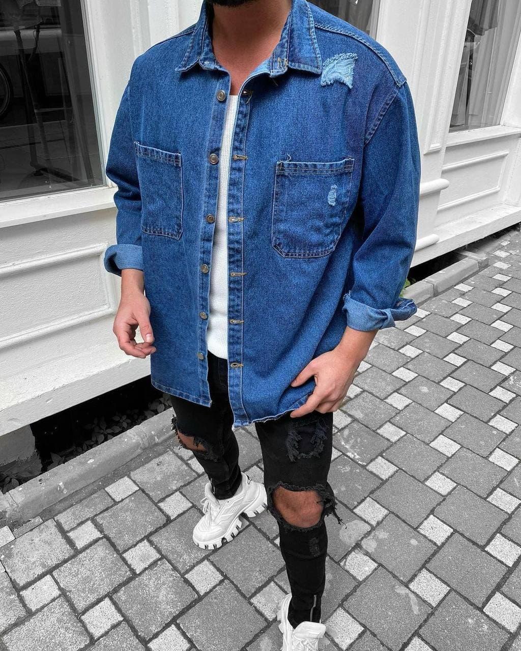 😜Рубашка - мужская джинсовая байковая / чоловіча джинсова рубашка в синьому кольорі