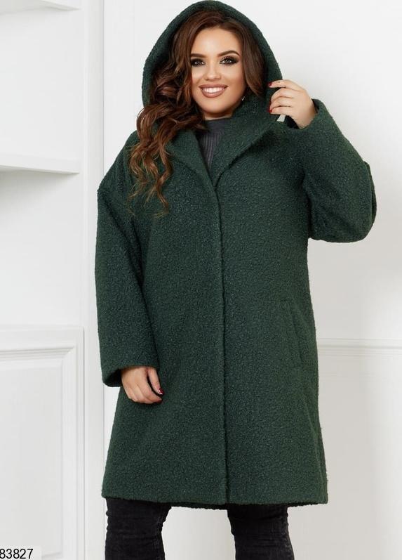 Пальто жіноче демісезонне букле баранець зелений 48-50, 52-54, 56-58, 60-62, 64-66