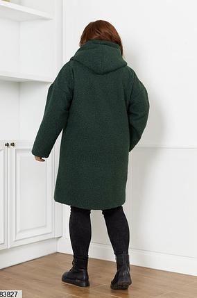 Пальто жіноче демісезонне букле баранець зелений 48-50, 52-54, 56-58, 60-62, 64-66, фото 2
