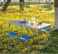 Складной Походный Стол с набором из 4-х стульев Prostore, телескопические ножки, 120*60 см, коричневый