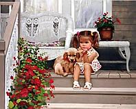 """Раскраска по номерам Menglei """"Девочка с собакой худ. Золан, Дональд """""""