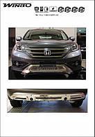 Накладки на передний и задний бампера (нержавейка) Honda CRV 2013-