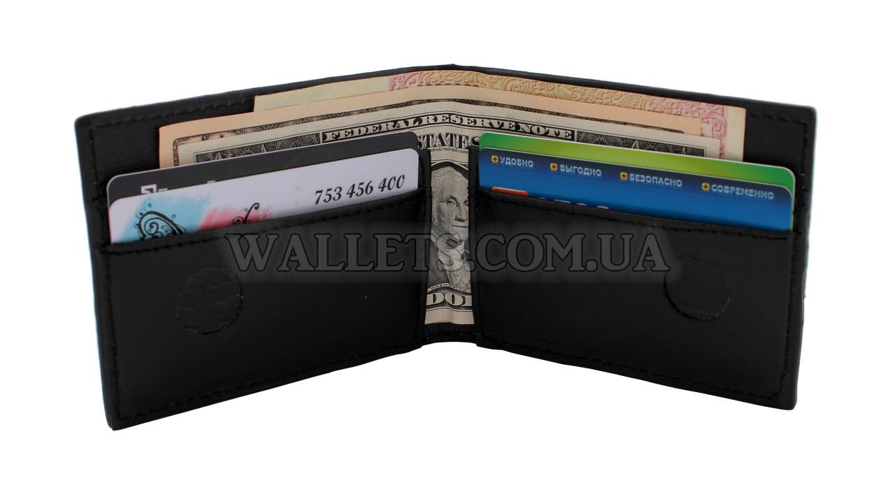 Чоловічий шкіряний гаманець VIVA, тонкий, чорний крокодил лак