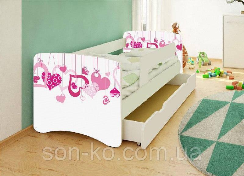 Ліжко дитяче Сердечки без ящика. Безкоштовна доставка