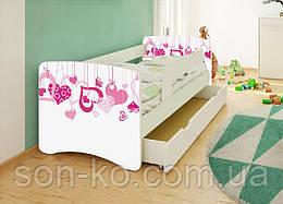Кровать детская Сердечки без шухляды. Бесплатная доставка