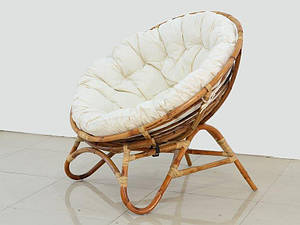 Плетене крісло Cruzo Папасан Нуова кругле з ротанга + м'яка сидушка