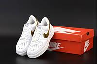 """Кроссовки унисекс кожаные Nike Air Force """"Белые со вставками"""" р. 36-45, фото 1"""