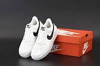 """Кроссовки унисекс кожаные Nike Air Force """"Белые с чёрной вставкой"""" р. 36;39;41-45, фото 1"""