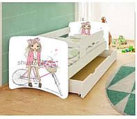 Кровать детская Девочка на велосипеде без шухляды. Бесплатная доставка