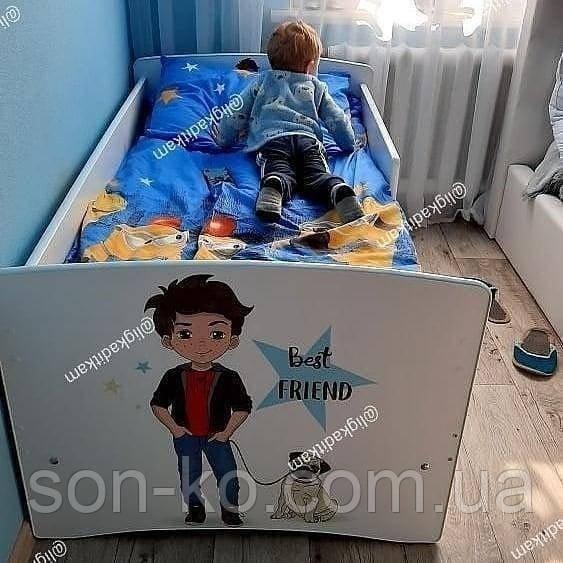 Ліжко дитяче Хлопчик з собакою без ящика. Безкоштовна доставка