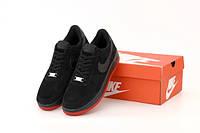 """Кросівки чоловічі замшеві Nike Air Force """"Чорні"""" р. 41-45, фото 1"""